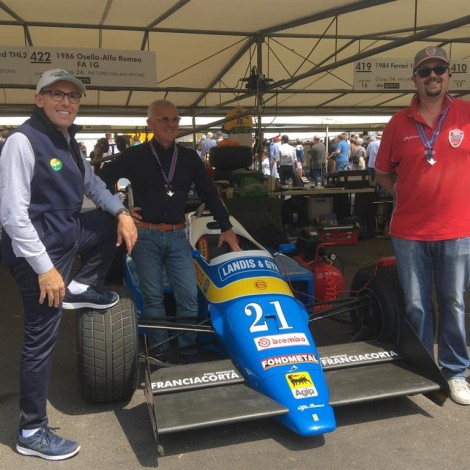 Goodwood Festival of Speed 2018: Angelo Miniggio, Federico Buratti e Andrea Cajani a Goodwood con la F1 Osella Alfa Romeo.