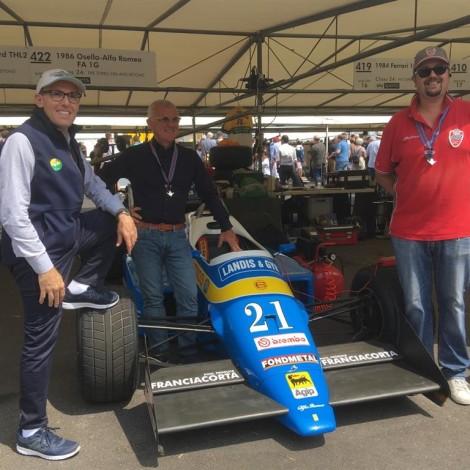 Goodwood Festival of Speed 2018: Angelo Miniggio, Federico Buratti and Andrea Cajani with the F1 Osella Alfa Romeo.