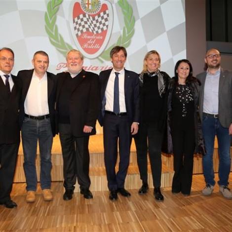 "Awards Ceremony ""Alfa Romeo Champions"", Museo Storico Alfa Romeo, Arese, 23 February 2019, from the left: Giuseppe Redaelli, Andrea Arbizzoni, Marco Cajani, Fabrizio Sala, Paola Bencini, Eleonora Frigerio and Andrea Monti."
