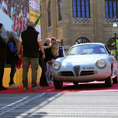 Targa Florio 2017, partenza. Scuderia del Portello, Alfa Romeo Giulietta SZ, Antonio Carrisi, Jacques-Michael Suter