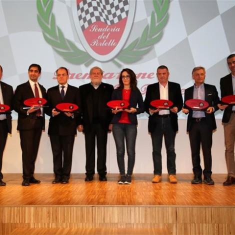 "Awards Ceremony ""Alfa Romeo Champions"", Museo Storico Alfa Romeo, Arese, 23 February 2019, from the left: Giuseppe Cherubini, Geronimo La Russa, Giuseppe Redaelli, Marco Cajani, Martina Cambiaghi, Andrea Arbizzoni, Alessandro Vanoi and Marco Carabelli."