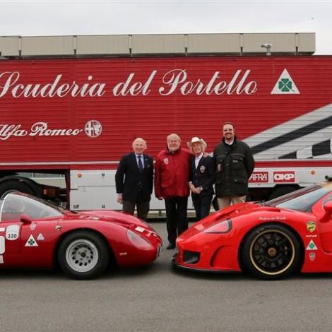 """Premiazione dei """"Campioni Alfa Romeo"""", Museo Storico di Arese, 23 febbraio 2019, da sinistra: Fulvio Maria Ballabio, Marco Cajani, Arturo Merzario e Andrea Cajani"""