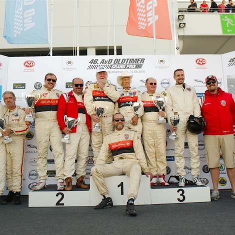 46^ AvD-Oldtimer-Grand-Prix, Nürburgring: the Driver Members of the Scuderia del Portello on the podium. Photo by Dario Pellizzoni.