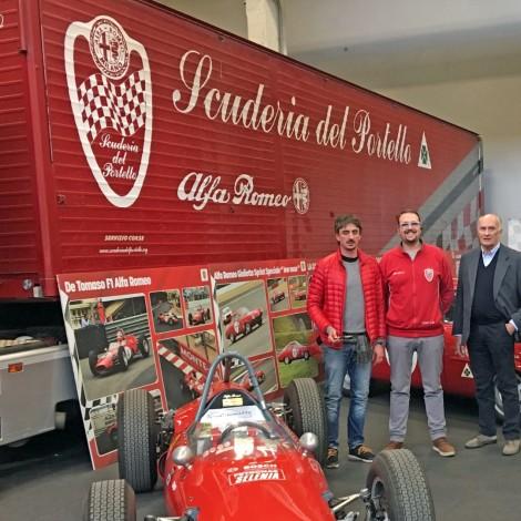 Automotoretrò 2019: il Team Manager Andrea Cajani con gli organizzatori Giuseppe e Alberto Gianoglio