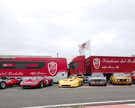"""Premiazione dei """"Campioni Alfa Romeo"""", 23 febbraio 2019: le prestigiose vetture della Scuderia del Portello schierate al Museo Storico Alfa Romeo di Arese"""