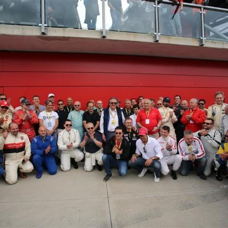 Imola, Historic Minardi Day 2018: i piloti del Portello con le leggende della F1 presenti all'evento.