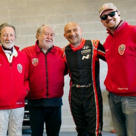 Drive Experience Davide Cironi Track Day, Autodromo di Modena, 3 marzo 2019, da sinistra: Gian Luigi Picchi, Marco Cajani, Gabriele Tarquini e Andrea Cajani. Foto di Dario Pellizzoni.