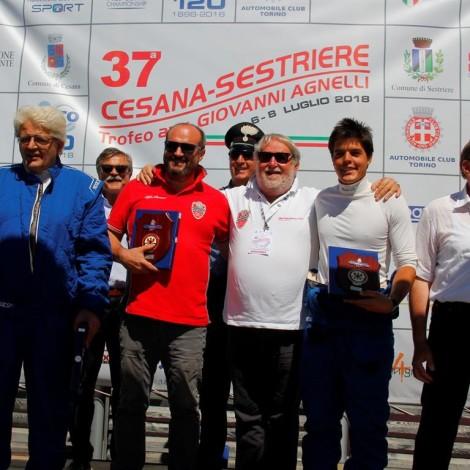 Cesana-Sestriere 2018: il podio tutto Scuderia del Portello con Marco Cajani, Emanuele Morteo, Angelo e Pietro Pensa. Foto di: www.fotograficasestriere.com