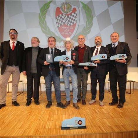 """Alfa Romeo Champions Award Ceremony"", 17 February 2018, Arese - Museo Storico Alfa Romeo. From the left: Andrea Cajani (Team Manager of the Scuderia del Portello); Marco Cajani (Presidente of the Scuderia del Portello); Robero Maroni (President of Lombardia Region); Arturo Merzario (Honorary President of the Scuderia del Portello); Roberto Giolito (Head of EMEA Heritage FCA); Ivan Capelli (President of ACI Milano); Oreste Perri (Presidente of CONI Lombardia). Photo by Massimo Campi."
