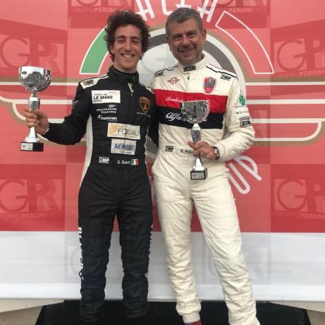 Misano 2018, Alfa Revival Cup: the driver member of the Scuderia del Portello Emilio Petrone on the podium.