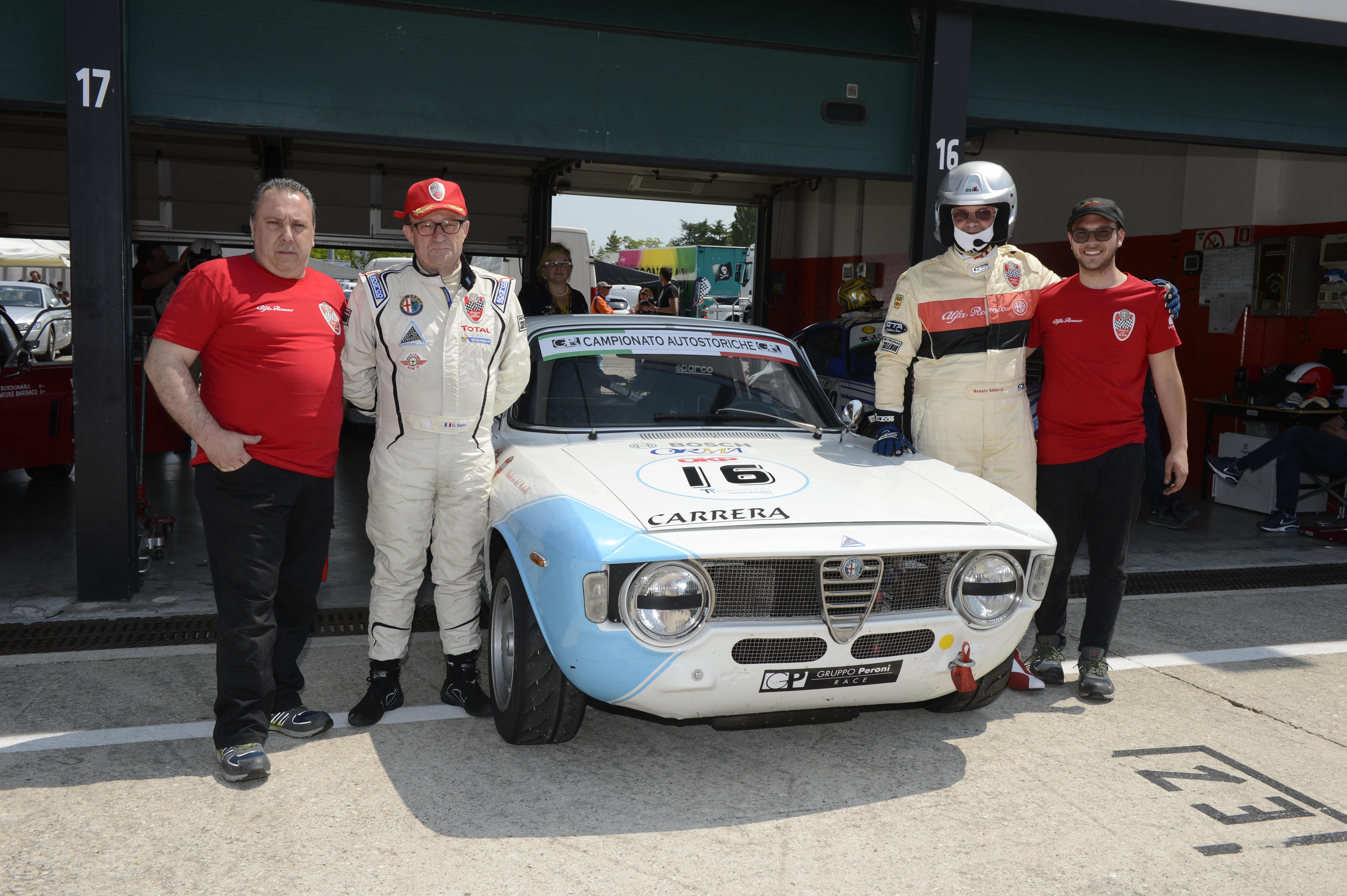 Misano 2018, Campionato Italiano Autostoriche: i soci Giovanni Serio e Renato Ambrosi con Giulia Sprint GTA 1600.