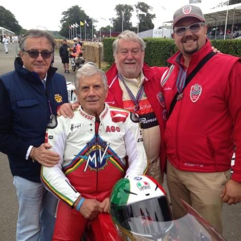 Goodwood Festival of Speed 2017, Marco Cajani, Andrea Cajani, Giacomo Agostini e Gian Carlo Minardi.