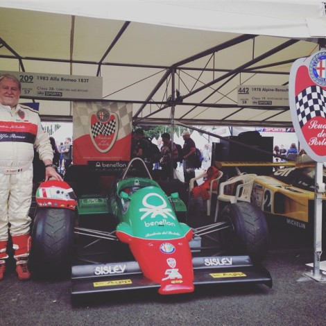 Goodwood Festival of Speed 2017, the President Marco Cajani with the Alfa Romeo F1 T183.
