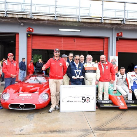 "Scuderia del Portello awards Gian Carlo Minardi with the trophy ""Alfa Romeo Champions"". Photo Pellizzoni"