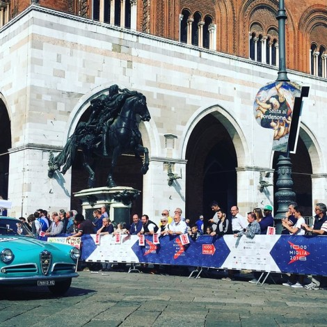 Mille Miglia 2018: The cars pass through one of the historic centers along the course of the Mille Miglia.