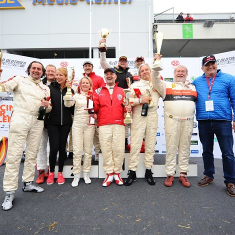 Nurburgring, AvD Oldtimer Grand Prix - the driver members of the Scuderia del Portello on the podium