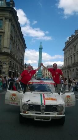 Peking to Paris 2016, Marco Cajani, Alessandro Morteo, Parigi, arrival in Place Vendome