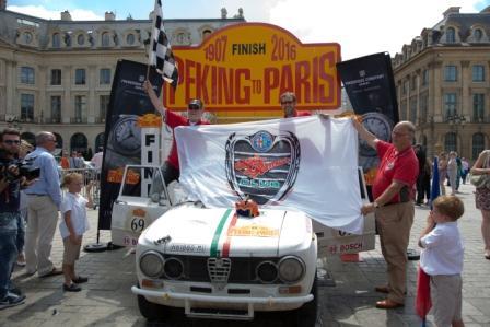 Peking to Paris 2016, Marco Cajani, Alessandro Morteo, finish line in Paris