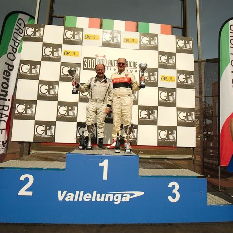Vallelunga 2018: Renato Ambrosi e Giovanni Serio winners of their class and of their grouping at the 300 Km. Photo by Dario Pellizzoni.