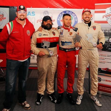 """Vallelunga, Zamuner-Da Zanche-Restelli, winners of the """"Trofeo Alfa Classic"""" by Scuderia del Portello"""